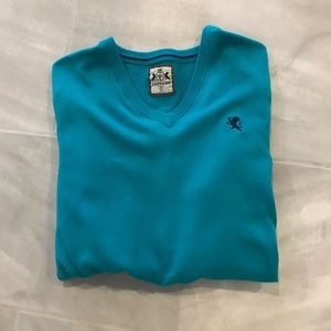 (EXPRESS) Men's V-Neck Turquoise Cotton Sweater